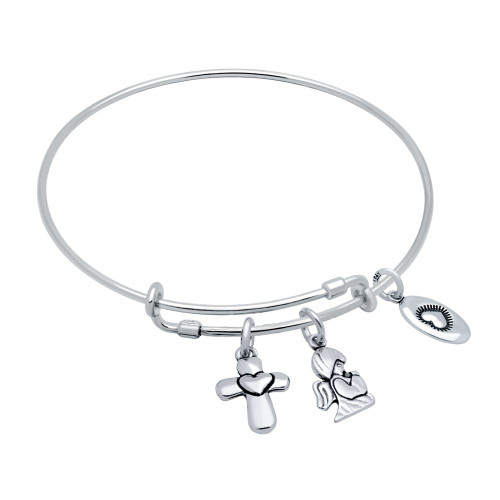 "STERLING SILVER EXPANDABLE BANGLE WITH CROSS, ""LOVE"", AND ANGEL CHARMS"