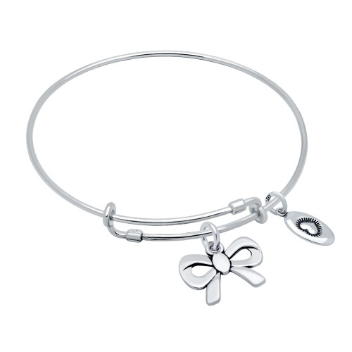 "STERLING SILVER EXPANDABLE BANGLE WITH ""LOVE"" AND RIBBON BOW CHARMS"