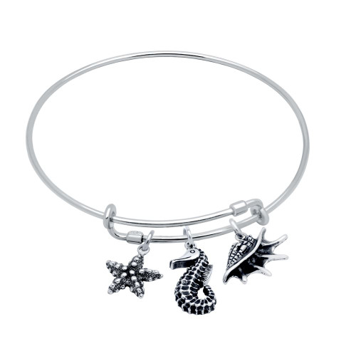 STERLING SILVER EXPANDABLE BANGLE WITH SEASHELL, STARFISH, AND SEA HORSE CHARMS