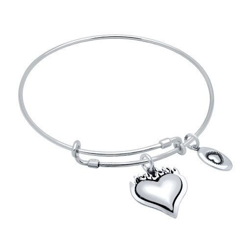 "STERLING SILVER EXPANDABLE BANGLE WITH ""LOVE"" AND SACRED HEART CHARMS"