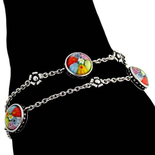 MULTICOLOR MURANO MILLEFIORI TWO STRAND ROUND BRACELET WITH SMALL SILVER FLOWERS 7""