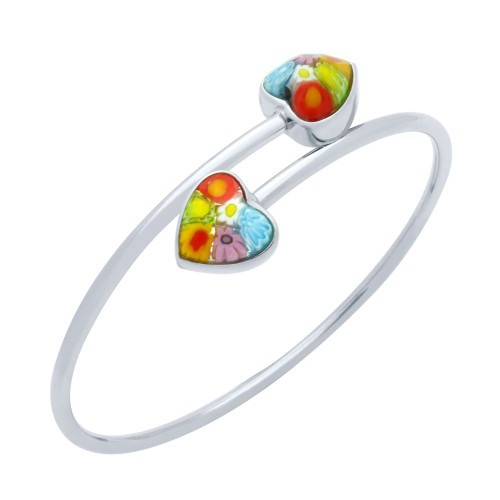 MULTICOLOR MURANO MILLEFIORI FACETED HEARTS BANGLE 7""