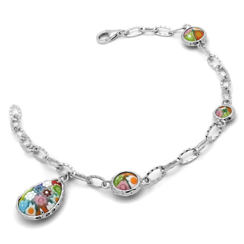 MULTICOLOR MURANO MILLEFIORI ROUND AND DROP BRACELET 7.5""