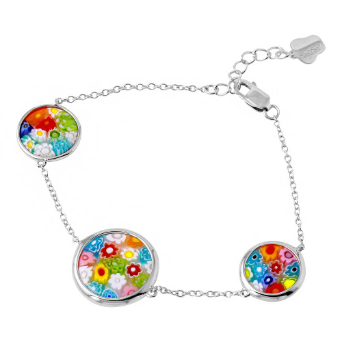 MULTICOLOR MURANO MILLEFIORI TWO 14MM AND  ONE 18MM DOUBLE-SIDED ROUND BRACELET 6""