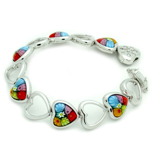 MURANO MILLEFIORI MULTICOLOR CUT OUT HEART BRACELET 7""