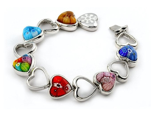 CUT OUT HEART MURANO MILLEFIORI BRACELET 7""