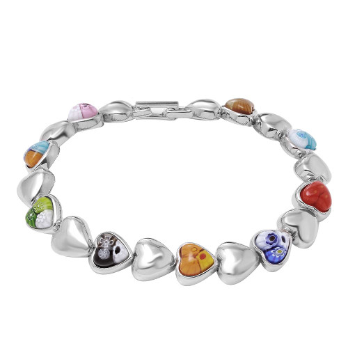 MULTICOLOR MURANO MILLEFIORI  AND HIGH POLISH HEART BRACELET 7""