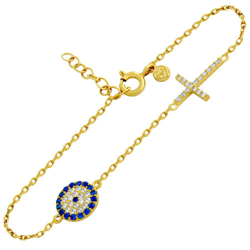 "GOLD PLATED STERLING SILVER CZ PAVE EYE BRACELET 6"" + 1"""