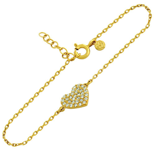 "GOLD PLATED CZ PAVE HEART BRACELET 6.5"" + 1"""