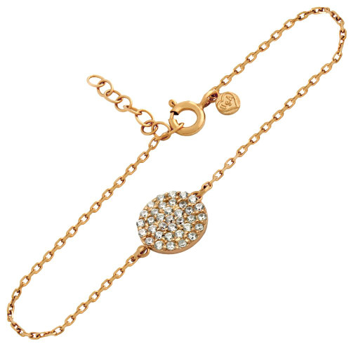 "ROSE PLATED SMALL CZ PAVE DISK BRACELET 6.5"" + 1"""