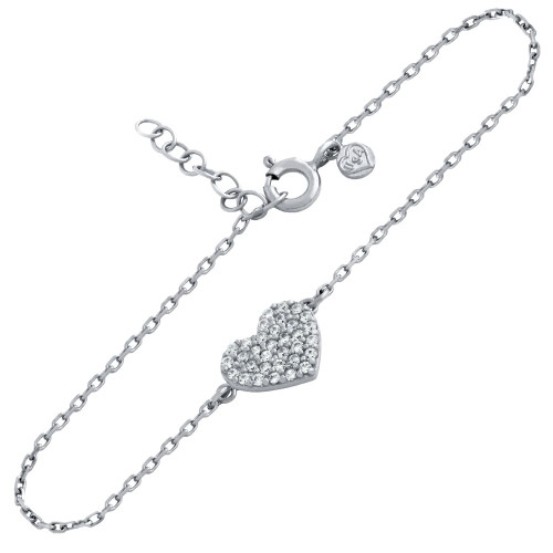 "RHODIUM PLATED CZ PAVE HEART BRACELET 6.5"" + 1"""