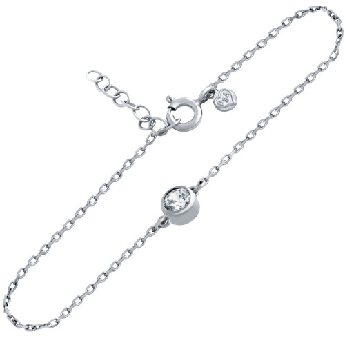 "RHODIUM PLATED 5MM CZ BRACELET 6.5"" + 1"""