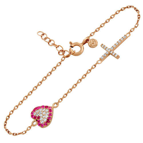 "ROSE GOLD PLATED CZ PAVE CROSS AND HEART BRACELET 6.5"" + 1"""
