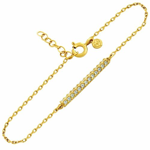 GOLD PLATED DOUBLE ROW CZ BAR BRACELET