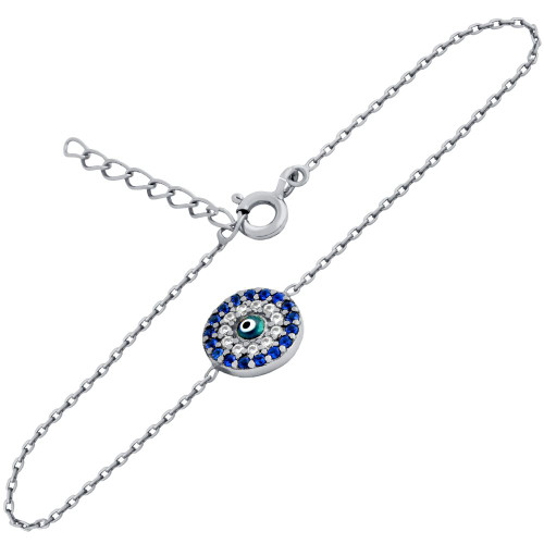 "RHODIUM PLATED CLEAR AND BLUE CZ ROUND BRACELET WITH DARK BLUE EYE 6""+1"""
