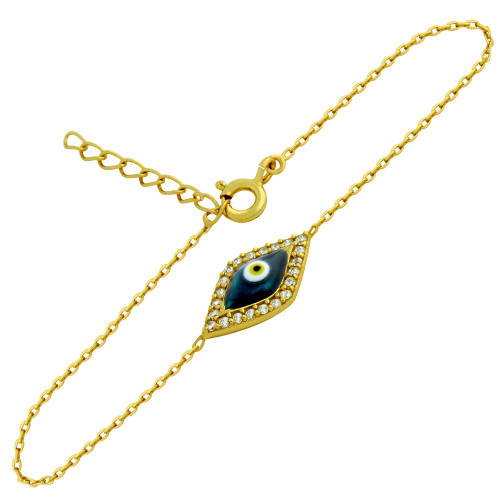 "GOLD PLATED CLEAR CZ EYE BRACELET WITH DARK BLUE EYE 6""+1"""