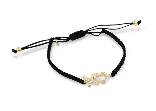 GOLD PLATED XO♥ HEART CZ ADJUSTABLE CORD BRACELET