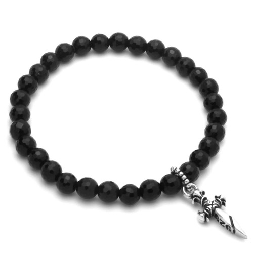 "TWISTED BLADE 7"" BLACK ONYX STRETCH BRACELET WITH SILVER DAGGER CHARM"
