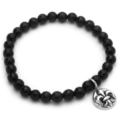 "TWISTED BLADE 7"" BLACK ONYX STRETCH BRACELET WITH SILVER FLEUR DE LIS CHARM"