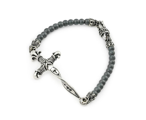 TWISTED BLADE 22MM DAGGER BRACELET WITH MATTE HEMATITE LINK BEADS