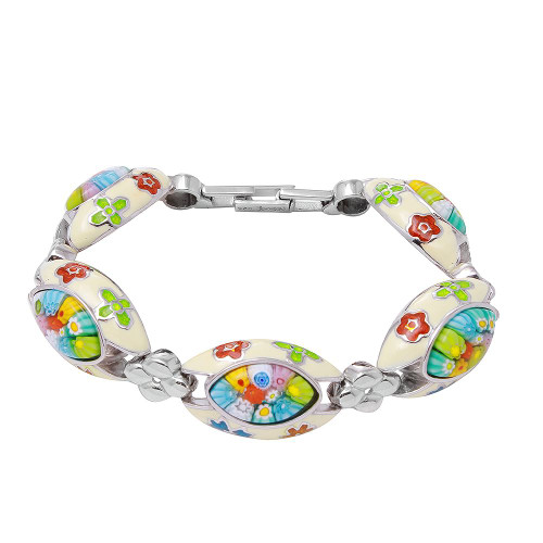 MILLACRELI WHITE AND MULTI COLOR MARQUISE BRACELET 8""