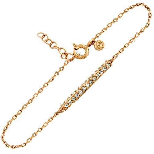 ROSE GOLD PLATED DOUBLE ROW CZ BAR BRACELET