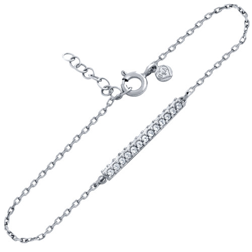 RHODIUM PLATED DOUBLE ROW CZ BAR BRACELET