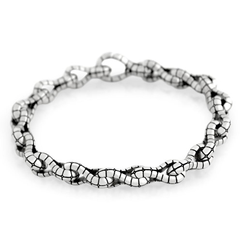 TWISTED BLADE SILVER ALLIGATOR-LINK BRACELET