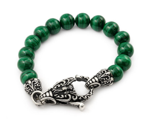 TWISTED BLADE INTRICATE MALACHITE BEAD BRACELET