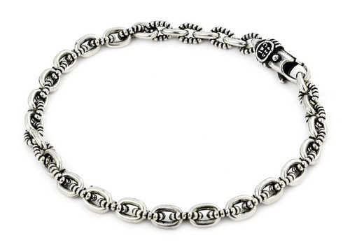 TWISTED BLADE SILVER BEADED OVAL LINK BRACELET