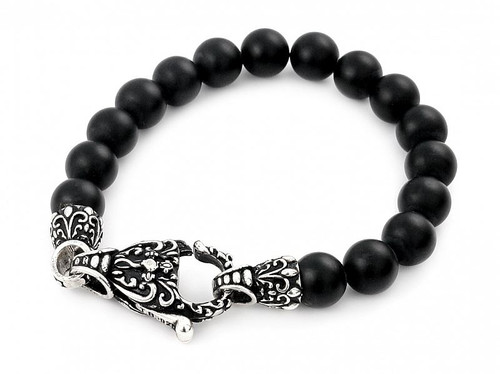 TWISTED BLADE INTRICATE BLACK ONYX BEAD BRACELET