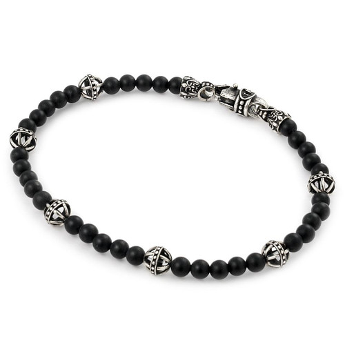 """TWISTED BLADE BRACELET WITH BLACK AGATE AND BALL LINK BEADS 7"""""""