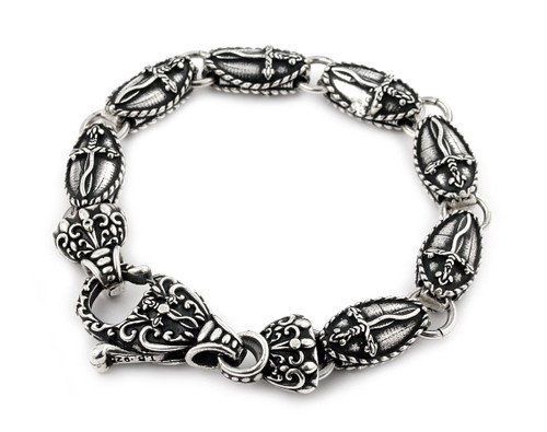 TWISTED BLADE SILVER LARGE OVAL DAGGER BRACELET WITH FANCY CLASP 8