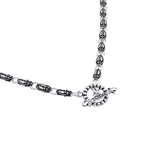 TWISTED BLADE SILVER 6MM SMALL OVAL DAGGER LINK NECKLACE