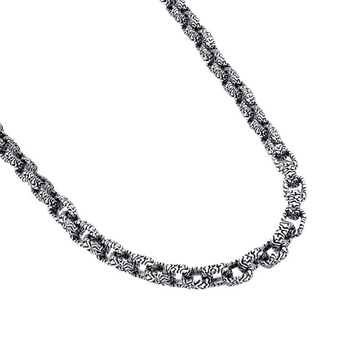 TWISTED BLADE SILVER SQUARE ZEBRA LINK NECKLACE