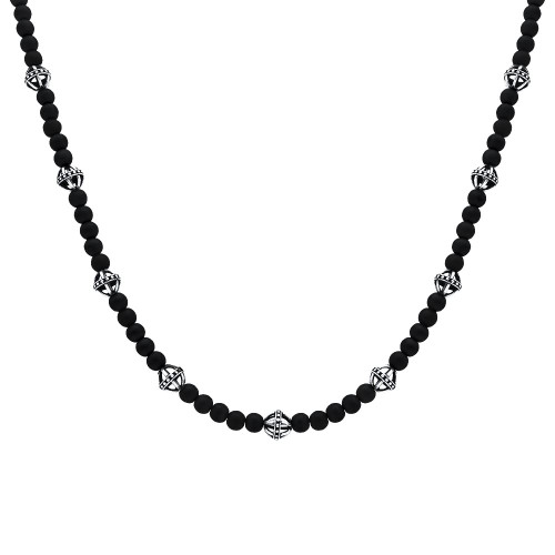 TWISTED BLADE NECKLACE WITH ONYX BEADS