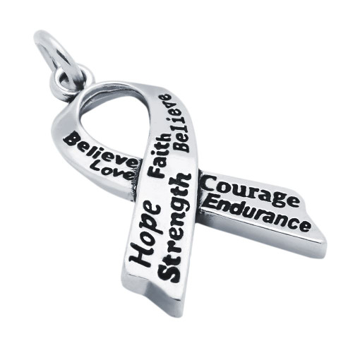 LARGE 28MM INSCRIBED AWARENESS RIBBON CHARM
