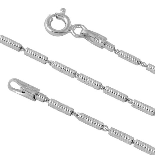 RHODIUM PLATED STERLING SILVER TUBE LUNEX 030 CHAIN (1.5MM)