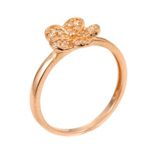 ROSE GOLD PLATED CZ FLOWER RING