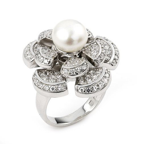 CZ FLOWER RING WITH PEARL CENTERPIECE