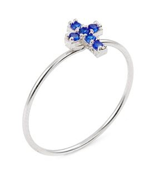 PAVE BLUE CZ CROSS STACKABLE RING