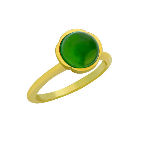 GOLD PLATED RING WITH 8MM CABOCHON EMERALD