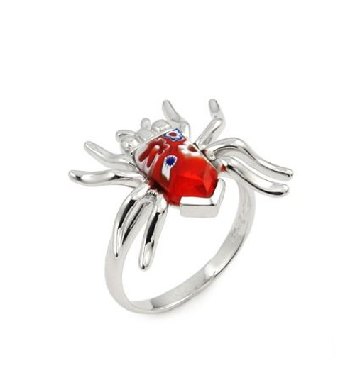 MURANO MILLEFIORI RED FACETED SPIDER RING