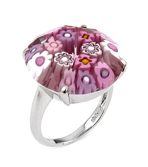 MURANO MILLEFIORI FACETED 20MM PINK COLOR ROUND RING