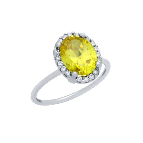 RHODIUM PLATED CANARY YELLOW OVAL CZ RING WITH SURROUNDING CLEAR CZ STONES
