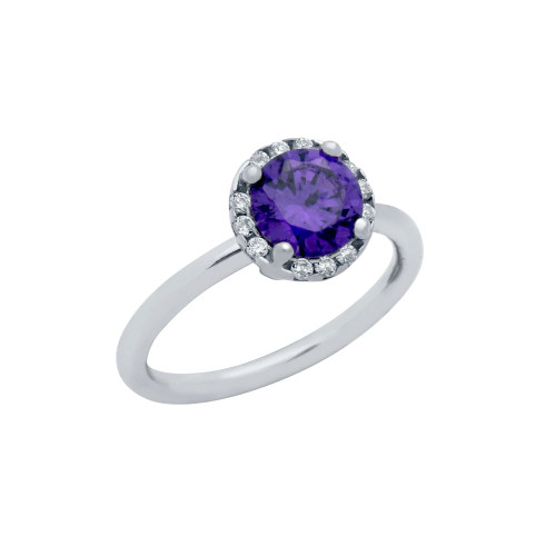RHODIUM PLATED PURPLE ROUND CZ RING WITH SURROUNDING CLEAR CZ STONES