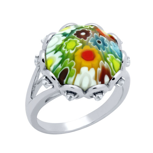 MULTICOLOR MURANO MILLEFIORI ROUND FACETED SPLIT SHANK RING WITH CZ