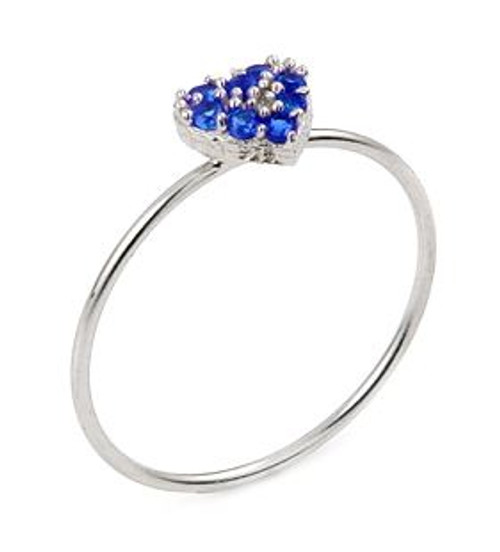 PAVE BLUE CZ HEART STACKABLE RING
