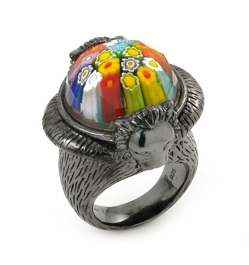 EXQUISITE COLLECTION FACETED MLT MURANO GLASS RING WITH BLACK RHODIUM FINISH FEATURING LION ACCENTS