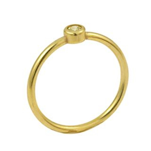 GOLD PLATED 3MM YELLOW SWAROVSKI CZ STACKABLE BAND RING